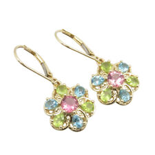 SOLID YELLOW GOLD 14K Natural Pink Tourmaline Swiss Blue Topaz Peridot Earrings
