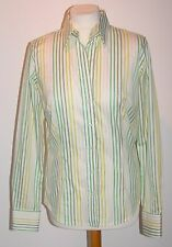 """CLASSIC LADIES SHIRT 'PINK' - GREEN,YELLOW+ WHITE STRIPES BUST 38"""""""
