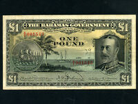 Bahamas:P-7,1 Pound,1919 (1930) * King George V * RARE