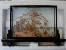 Vintage Close-Out Carved Cork Scenery Picture with Glass Frame
