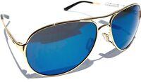 NEW* Oakley CAVEAT Gold 60mm Aviator Blue Ice Iridium Women's Sunglass 4054-16