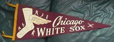 "VINTAGE 1950'S CHICAGO WHITE SOX PENNANT 11"" x 28"" WINGED SOCK 6 PLAYERS"