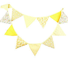 3.3m Yellow Handmade Vintage Rustic Cotton Fabric Flag Bunting -12 Flags