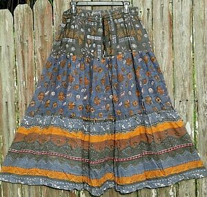 Rosey Tomato Embellished Tiered Maxi Boho Hippie Peasant Skirt size 22/42 2X