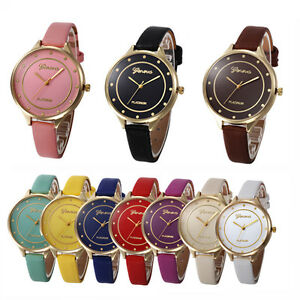 Geneva Women Men Casual Watch Leather Band Casual Quartz Analog Gold Wrist Watch