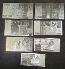 Silver plated, Really neat set 7 notes in silver euro