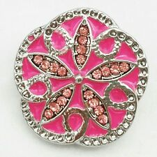 New Noosa Chunks Ginger Style Snap Button Charms Pink Daisy 20mm