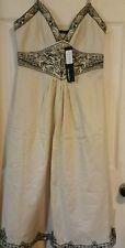 Atmosphere 8 beige machine embroidered hemline vneck waist side zip sundress