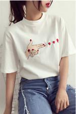 Fashion Women's Korean Summer Heart Print T-shirt Short Sleeve Loose Tops M-3XL