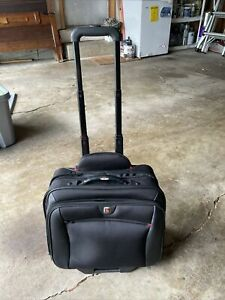 WENGER Swiss Army Gear Laptop Briefcase Rolling Luggage Wheeled Bag Black Roller