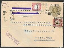 Netherlands Indies covers 1910 20c imp cover with 35c DUE from SOLO to Vienna