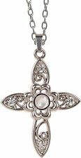 """The Lord's Prayer FLORAL CROSS Magnifier Pendant 20"""" Chain, by AngelStar, 13853"""