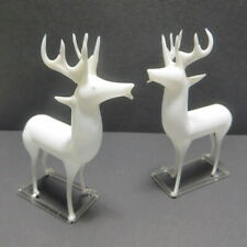 Vtg Blown Glass Reindeer Figurine x2 Christmas Decorations White Deer