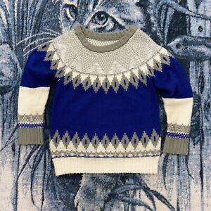 Vtg Fair Isle Sweater Womens Blue Gray Crewneck Pullover Jumper Soft