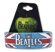 BEATLES UNION JACK BLUE SILICONE WRISTBAND MUSIC BAND NEW OFFICIAL