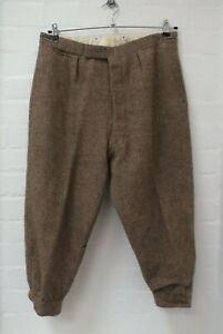 Brown Tweed Shooting Breeks Wool Hunting Trousers Plus Fours W34 L20 (Hol)
