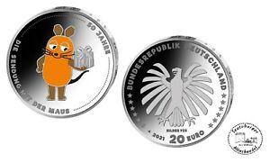 BRD 20 Euro 2021 50 Jahre Sendung mit der Maus   925er Silber *spgl.* in Ovp.