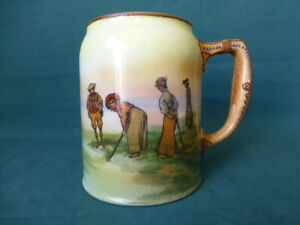 Antique Nippon China Golf Themed Mug With Lady Golfers