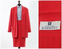 Vintage Women's GIVENCHY Suit Wool Blazer Skirt Red Size US 16 EU 48