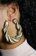 LARGE BAMBOO TWIST EARRINGS HIP HOP GOLD OVAL HOOPS DOOR KNOCKER CHUNKY CREOLE