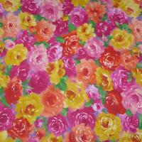 Bright Yellow, Red, Orange & Pink Packed Floral, Cotton Fabric, Per 1/2 Yd