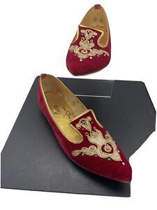 Vintage Genies Red Velvet Jeweled Slippers/Flats 6 1/2AA Orig box