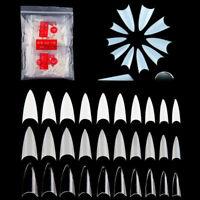 500Pc/Bag Natural White Clear Full False Nail Tips Art Acrylic French Fake Nails