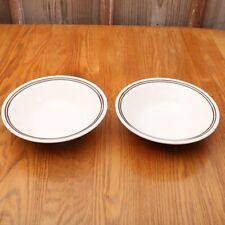 2 White With Brown Stripes Cereal Bowls