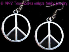 Funky Retro PEACE SIGN EARRINGS-Flower Child Charm Hippy Novelty Jewelry-SILVER
