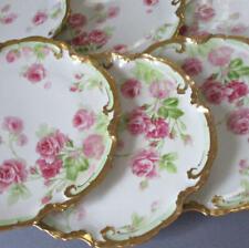 6 Antique LIMOGES Porcelain Cabinet Plates Gorgeous PINK ROSES w Lush GILT Trim