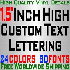 "Personalized 1.5"" Custom Text Name Vinyl Decal Sticker Car Wall Lettering Number"