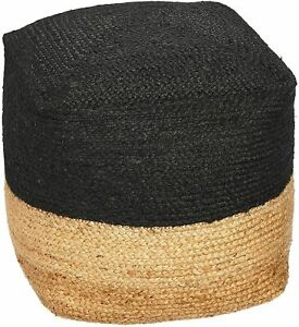 Pouf Cover Jute Braided Ottoman Cover Pouffe Home Decor Living Foot Stool Cover