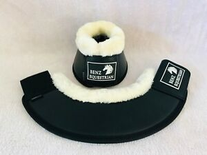 LEATHER OVERREACH/BELL BOOTS FLEECE DRESSAGE BLACK-BROWN-WHITE FULL COB PONY