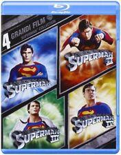 SUPERMAN 1,2,3,4 CON CHRISTOPHER REEVE (4 BLU-RAY) COFANETTO UNICO, NUOVO, ITA.