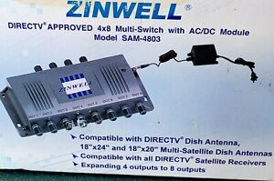 NEW - ZINWELL SAM-4803 DTV4X8 DirecTV Approved Multi-Switch WITH Power Supply