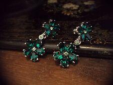 Butler & Wilson Vintage B&W Emerald Green & Peridot Crystal Flower Drop Earrings