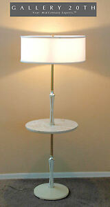 CLEAN! ATOMIC MID CENTURY TABLE FLOOR LAMP! WHITE POLE LIGHTOLIER VTG MODERN 50S