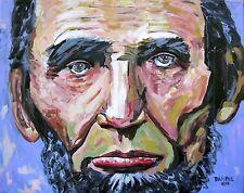 President Abraham Lincoln Original Art PAINTING Artist DAN BYL USA Huge 4x5ft