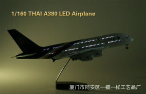 A380 LED Light THAI Airforce Passanger Plane 1/160 Airplane Resin Aircraft Toy