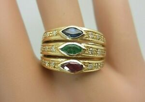 18K Yellow Gold Ruby Emerald Blue Sapphire Diamond Ring 1.24 ct