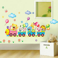 Animal Train Wall Stickers Nursery Kids Baby Room Decor Art Vinyl Mural Decals
