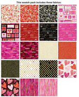 Cherish Valentine for Benartex 42 10 X 10 Squares Layer Cake Metallic Fabric