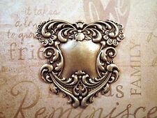 Large Oxidized Brass Floral Scroll Plaque Stamping (1) - BORAT536