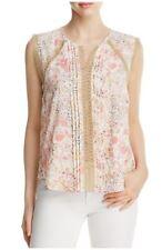 T Tahari Norma Lace Trim Floral Print Blouse Size Large White Multi