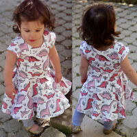 Kids Baby Girls Cartoon Dinosaur Short Sleeve Casual Dress Outfits Summer US Mon
