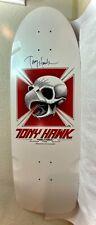 Tony Hawk autographed skateboard deck. White pig. Bones Brigade series reissue