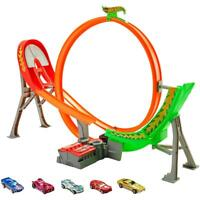 Hot Wheels Power Shift Raceway Track 5-Race Vehicles Set With Motorized Booster