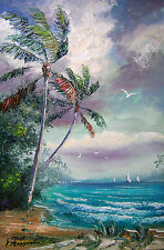 SEASCAPE Oil Painting  Ocean , art Tropical, Palm Trees,  11 x 17 GENUINE MAZZ
