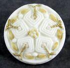 Antique Medium Size White Glass Button w  Imitation Needlework Fabric Design