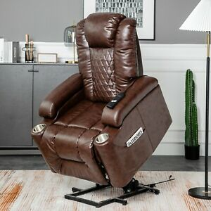 Lift Chair Electric Riser Recliner Sofa for Elderly, Leather Recliner Armchair